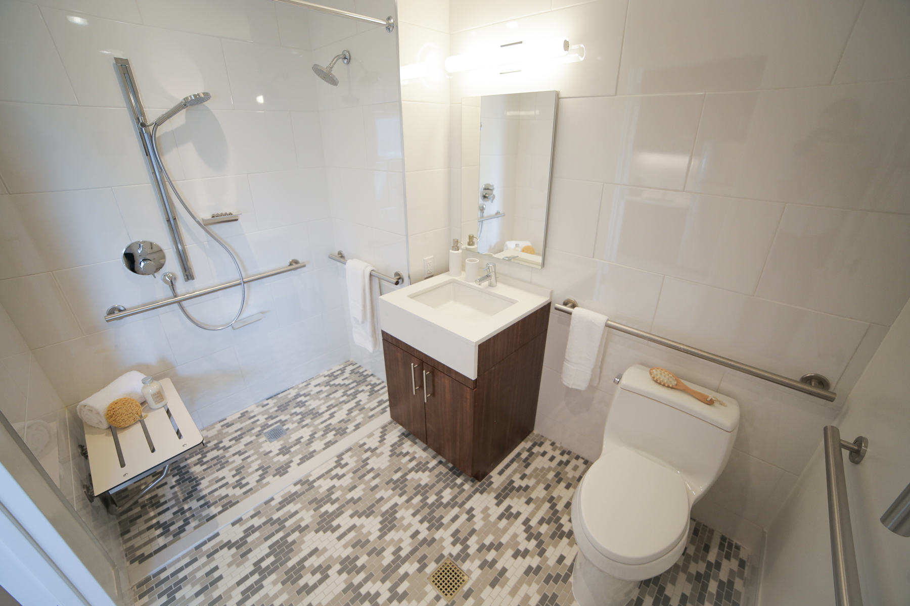 A bathroom featuring a handicap accessible walk-in shower, modern bathroom fixtures, and convenient handrails.