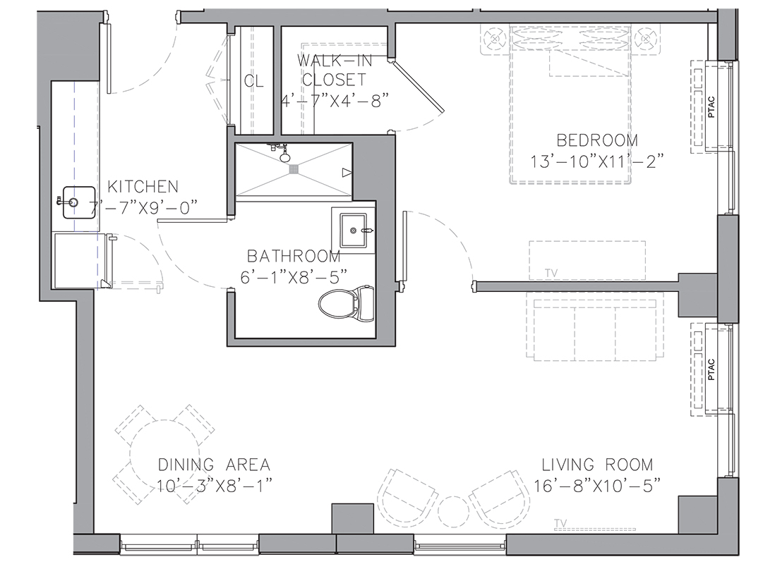 A blueprint of a one bedroom apartment floor plan.