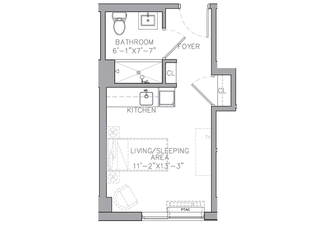 A blueprint of a studio apartment floor plan.