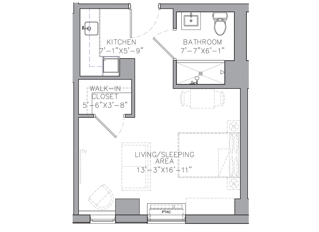 A blueprint of a studio plus apartment floor plan.
